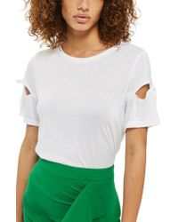TOPSHOP | White Ribbon Sleeve Tee | Lyst
