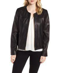 Cole Haan - Black Lambskin Leather Jacket - Lyst