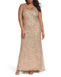 Adrianna Papell   Multicolor Sequin A-line Gown   Lyst