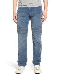 True Religion | Blue Geno Straight Leg Corduroy Moto Pants for Men | Lyst