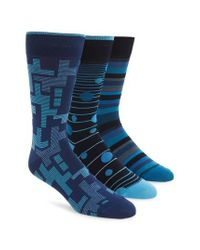 Bugatchi - 3-pack Mixed Pattern Socks, Blue for Men - Lyst
