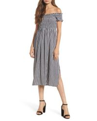 Bardot - Black Gingham Off The Shoulder Midi Dress - Lyst