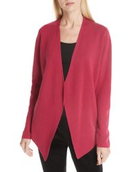 Eileen Fisher - Natural Angled Lyocell & Silk Cardigan - Lyst