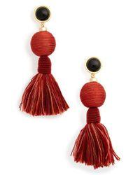 Lizzie Fortunato - Red Modern Craft Tassel Drop Earrings - Lyst