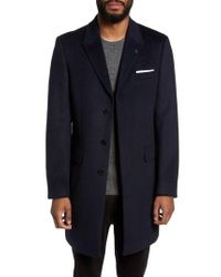 Ted Baker | Blue Endurance Wool & Cashmere Overcoat for Men | Lyst