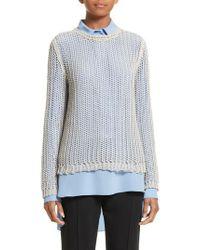 Victoria Beckham - Metallic Fishnet Sweater - Lyst