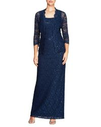 Alex Evenings - Blue Lace Column Gown With Jacket - Lyst