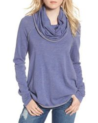 Free People - Blue 'beach Cocoon' Cowl Neck Pullover - Lyst