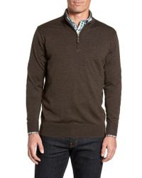 Peter Millar | Brown Crown Soft Merino Blend Quarter Zip Sweater for Men | Lyst