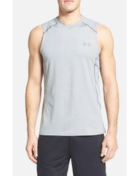 Under Armour | Gray 'raid' Heatgear Fitted Tank Top for Men | Lyst