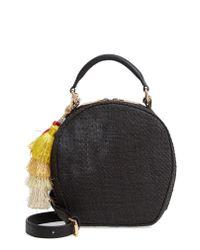 Deux Lux - Black Grenada Woven Straw Circle Crossbody Bag - - Lyst