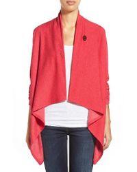 Bobeau | Red One-button Fleece Wrap Cardigan | Lyst