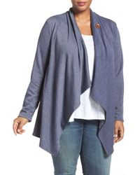 Bobeau - Blue One-button Fleece Cardigan - Lyst