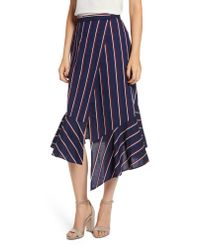 French Connection - Blue Striped Wraparound Cotton Skirt - Lyst