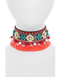 TOPSHOP - Red Beaded Tassel Choker - Lyst