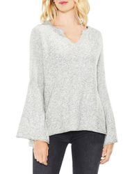 Two By Vince Camuto | Gray Bell Sleeve Ribbed Sweater | Lyst