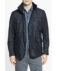 Barbour | Blue 'sapper' Tailored Fit Weatherproof Waxed Jacket for Men | Lyst