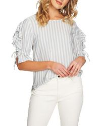 1.STATE - Gray Ruffle Sleeve Stripe Top - Lyst