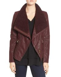 Guess - Brown Faux Leather Moto Jacket With Faux Fur Trim - Lyst