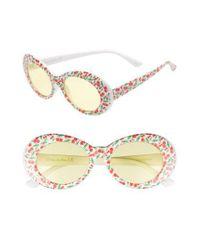 Circus by Sam Edelman - Metallic 70mm Cherry Print Oval Sunglasses - Lyst
