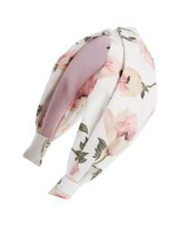 Tasha - White Turban Knot Floral Headband - Lyst