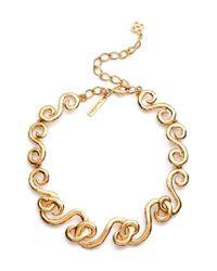 Oscar de la Renta - Metallic Swirl Necklace - Lyst
