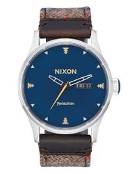 Nixon - Blue The Sentry Leather Strap Watch - Lyst