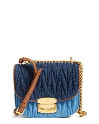 Miu Miu | Blue Matelasse Crossbody Bag | Lyst