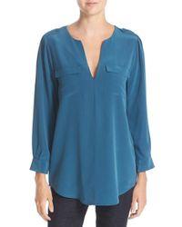 Joie - Blue 'marlo' Silk Blouse - Lyst