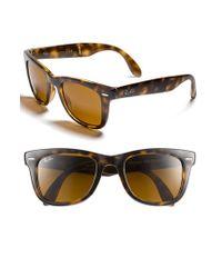 Ray-Ban | Brown 'folding Wayfarer' 50mm Sunglasses | Lyst