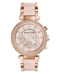 MICHAEL Michael Kors | Pink Michael Kors 'parker' Blush Acetate Link Chronograph Watch | Lyst