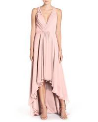 Monique Lhuillier Bridesmaids | Pink Deep V-neck Chiffon High/low Gown | Lyst