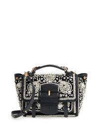 Tory Burch | Black Dexter Embellished Leather Top Handle Satchel | Lyst