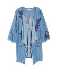 BILLY T - Blue Embroidered Drape Front Chambray Cardigan - Lyst
