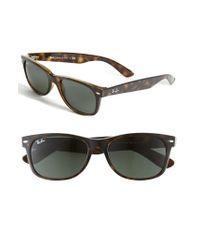 Ray-Ban | Brown 'new Large Wayfarer' 55mm Sunglasses - Dark Tortoise | Lyst