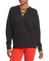 Zella | Black Lace-up Pullover | Lyst