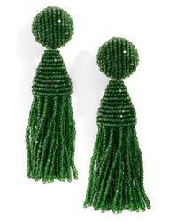 Oscar de la Renta | Green 'classic Short' Tassel Drop Clip Earrings | Lyst