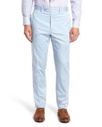 JB Britches - Blue Flat Front Solid Stretch Cotton Trousers for Men - Lyst