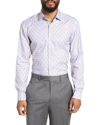 BOSS - Blue Ismo Slim Fit Dot Dress Shirt for Men - Lyst