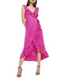 TOPSHOP - Pink Jacquard Ruffle Faux Wrap Midi Dress - Lyst