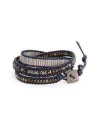 Nakamol | Blue Leather & Crystal Wrap Bracelet | Lyst