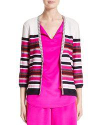 St. John - Pink Jacquard Weave Stitch Cardigan - Lyst