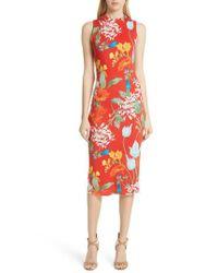 Alice + Olivia - Red Delora Floral Sleeveless Body-con Dress - Lyst