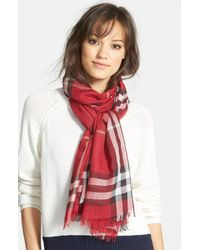 Burberry - Red Giant Check Print Wool & Silk Scarf - Lyst