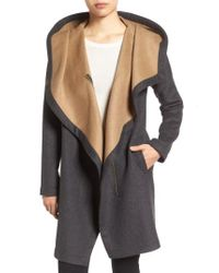 Vince Camuto | Gray Double Face Hooded Drape Coat | Lyst