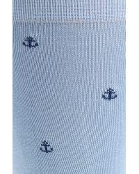 Pantherella Blue Sea Island Anchor Socks for men