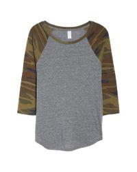 Alternative Apparel - Gray Eco Jersey Raglan Baseball (slate Camo) Women's Clothing - Lyst