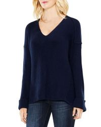 Two By Vince Camuto | Blue Wide Cuff V-neck Ribbed Sweater | Lyst