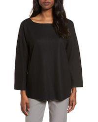 Eileen Fisher - Black Boiled Wool Jersey Top - Lyst