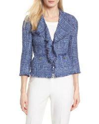 Anne Klein - Blue Fringe Tweed Jacket - Lyst